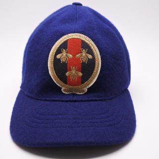 グッチ(Gucci)のグッチ GUCCI 帽子 ウール ネイビー メンズ L 59cm ビー BEE (キャップ)