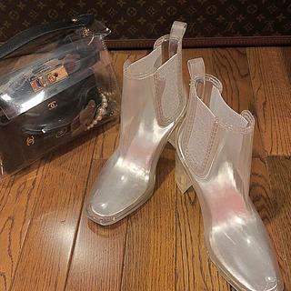 ジェフリーキャンベル(JEFFREY CAMPBELL)の未使用‼️ジェフリーキャンベル☆PVC☆クリアブーツ☆レインブーツ☆透明☆24㎝(レインブーツ/長靴)