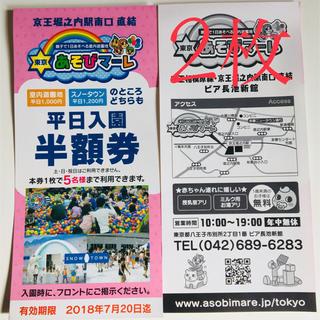 東京 あそびマーレ 平日半額券 2枚セット(遊園地/テーマパーク)