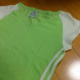 アディダス(adidas)のadidasグリーン×ホワイトラグランT(Tシャツ(長袖/七分))