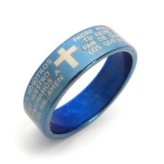 ☆新品☆16号ステンレスリング 指輪 ブルーカラー 英字(リング(指輪))