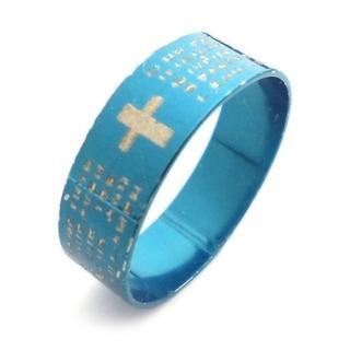 ☆新品☆25号ステンレスリング 指輪 ブルーカラー 英字(リング(指輪))