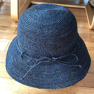 ムジルシリョウヒン(MUJI (無印良品))のラフィアこま編みたためるキャペリン ネイビー (麦わら帽子/ストローハット)