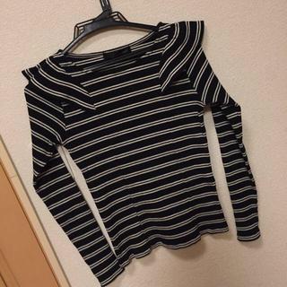 ミスティウーマン(mysty woman)のリブボーダー肩フリルTシャツ(カットソー(長袖/七分))