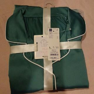 ジーユー(GU)の【新品】GU パジャマLサイズ グリーン無地 送料無料(パジャマ)