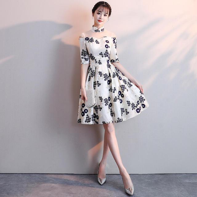 a897a0038e321 ハイネック花柄刺繍チャイナドレス 結婚式パーティードレス 二次会謝恩会 ...