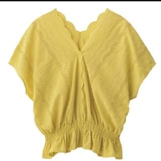 ジーユー(GU)のGU スカラップレースブラウス 新品(シャツ/ブラウス(半袖/袖なし))