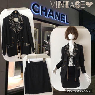シャネル(CHANEL)のシャネル 幻 美品 スーツ ロゴ セットアップ 93 麻 リネン(スーツ)