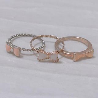 リボンモチーフ ピンキーリングセット(リング(指輪))