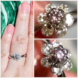 pt900 ため息の出る輝き!天然ピンクダイヤ0.1up!のフラワーリング(リング(指輪))