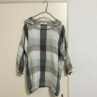 ツムグ(tumugu)のトム様専用  tumugu: リネンチェックプルオーバー♪(シャツ/ブラウス(半袖/袖なし))
