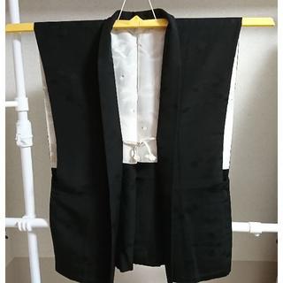 【袖なし羽織】正絹 陣羽織 紋付 男着物 和柄 ベスト フリーサイズ(スーツベスト)