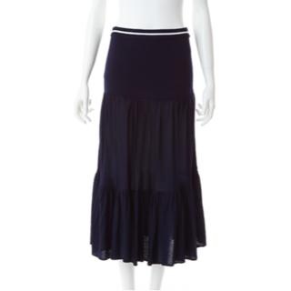 バーニーズニューヨーク(BARNEYS NEW YORK)のボーダーズアットバルコニー TIERED SKIRT ティアード スカート 紺(ひざ丈スカート)