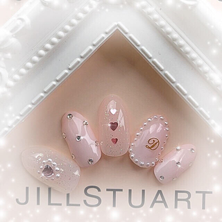 ■再販■*控えめ♡*ミルキーピンク*きらきらドット*゚イニシャル入 コスメ/美容のネイル(つけ爪/ネイルチップ)の商品写真