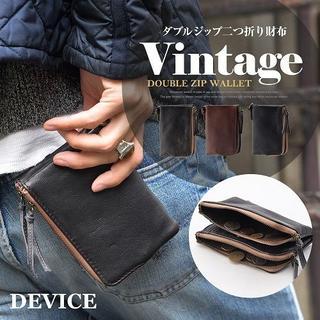 ディバイス(device.)のDEVICE/デバイス  ダブルジップ二つ折り財布  DPL70058ターゴイス(折り財布)