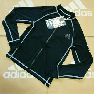 アディダス(adidas)の新品 150cm アディダス ジップアップ ラッシュガード ジュニア 黒 ③あ3(水着)