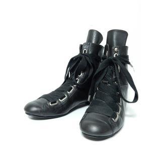 ヴィヴィアンウエストウッド(Vivienne Westwood)の美品!ヴィヴィアンウエストウッドソフトレザーリボンシューズ36-1/2黒ブラック(ブーツ)