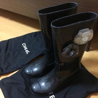 シャネル(CHANEL)のシャネルCHANEL黒ラメレインブーツ(レインブーツ/長靴)