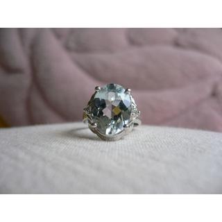 非加熱ブルートパーズK18WG指輪(リング(指輪))