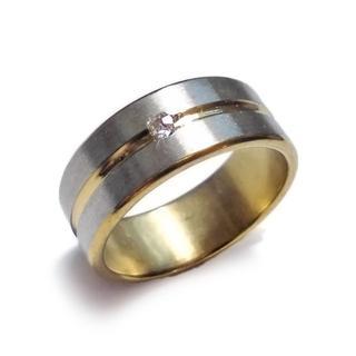 ☆新品☆25号 ステンレスリング 指輪 ジュエル ゴールドライン(リング(指輪))