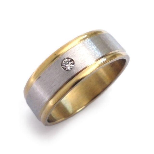 ☆新品☆22号 ステンレスリング 指輪 ジュエル ゴールドライン-3 レディースのアクセサリー(リング(指輪))の商品写真