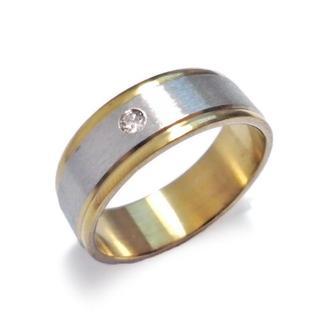☆新品☆25号 ステンレスリング 指輪 ジュエル ゴールドライン-3(リング(指輪))