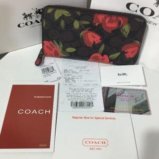 コーチ(COACH)のCOACH長財布シグネチャー ブラウン レッド フラワー 花柄F26290(財布)