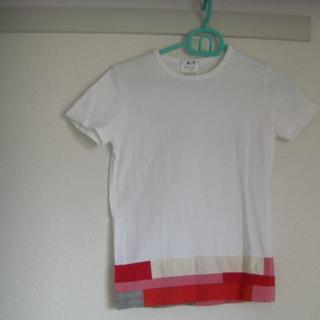 アツロウタヤマ(ATSURO TAYAMA)の【AT】 エーティー 半袖白Tシャツ 裾に切替 M★(Tシャツ(半袖/袖なし))