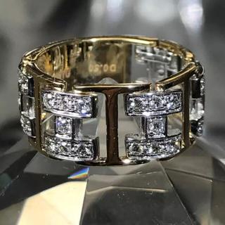 ダイヤモンド 0.50カラット k18 WG YG チェーンリング(リング(指輪))