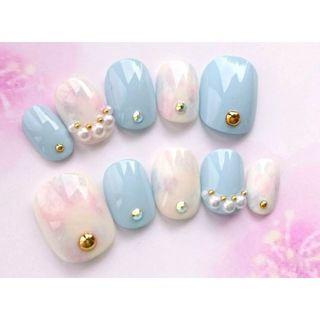 両面テープ付◆アイシングブルーと水色とピンクと紫のマーブルのネイルチップ◆703