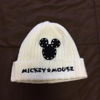 ディズニー(Disney)のディズニー公式 ニット帽 白(ニット帽/ビーニー)