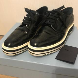 プラダ(PRADA)のPRADA プラダ ウィングチップシューズ 36(ローファー/革靴)