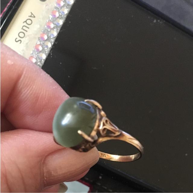 本物 k18宝石 指輪 猫の目リング レディースのアクセサリー(リング(指輪)