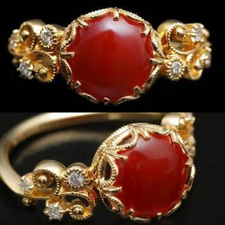 ベーネベーネ 血赤珊瑚 ダイヤ リング 「フロウ」(リング(指輪))