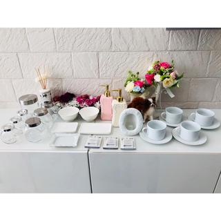 ムジルシリョウヒン(MUJI (無印良品))のポーセラーツ 22点セット 食器 マグカップ ティッシュケース 白い食器 ガラス(食器)