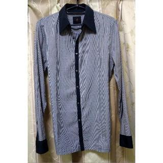 アトウ(ato)のato アトウ 千鳥格子 クレリックシャツ 46 ブラックxグレー(シャツ)