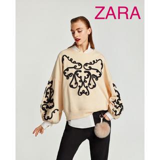 ザラ(ZARA)のsale!新品タグ付☆ZARAザラ☆コード刺繍入りバルーンスリーブスウェット(トレーナー/スウェット)