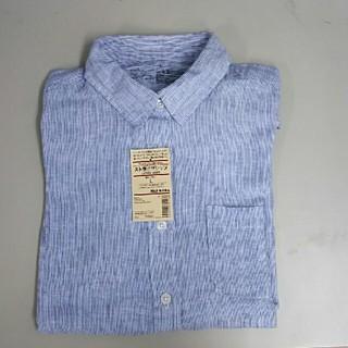 ムジルシリョウヒン(MUJI (無印良品))の新品 無印良品 フレンチリネン洗いざらし ストライプシャツ・ブルー・L(シャツ/ブラウス(長袖/七分))