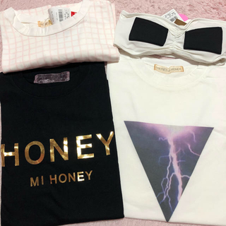 ハニーミーハニー(Honey mi Honey)の【新品未使用】ハニーミーハニー Tシャツ3点 ブラトップ1点(Tシャツ(半袖/袖なし))