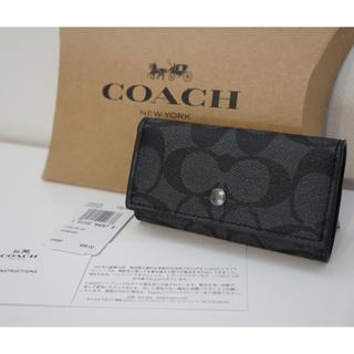 コーチ(COACH)のCOACH キーケース シグネチャー チャコール 新品(キーケース)