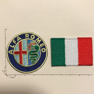 アルファロメオ(Alfa Romeo)のアルファロメオワッペン【イタリア国旗とセット】(車外アクセサリ)