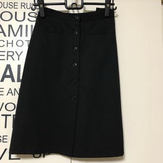 アニエスベー(agnes b.)のアニエス・ベー フロントボタン ラインウール 台形スカート 膝丈 黒 34サイズ(ひざ丈スカート)