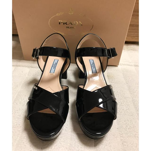 1108aed95b94 PRADA(プラダ)のPRADA プラダ エナメル サンダル 黒 ブラック パンプス バッグ レディースの靴