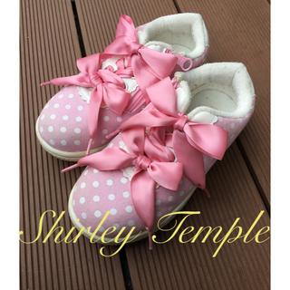 シャーリーテンプル(Shirley Temple)のシャーリーテンプル ダブルリボン スニーカー 20 ピンク水玉(スニーカー)