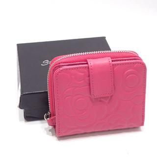 A606 美品 スタイルオンバッグ レザー財布 本革 ピンク 型押し(財布)