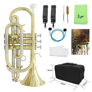 コルネット管楽器 ハードケース付 ☆ ゴールドラッカー仕上(トランペット)