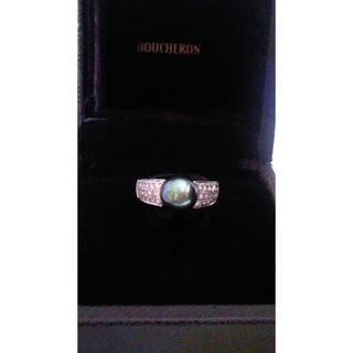 ブシュロン(BOUCHERON)のブシュロン 黒蝶真珠 ピーコックグリーン ダイヤリング 『お値引しました』(リング(指輪))