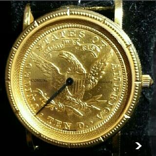 コルム(CORUM)の【美品】CORUM コルム 10ドル コインウォッチ クォーツ K18 18金(腕時計(デジタル))