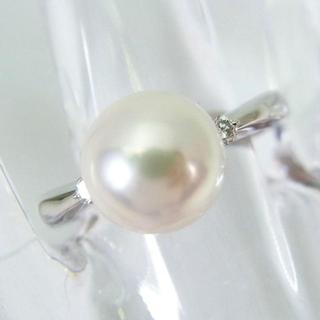 Pt900 天然アコヤ本真珠ダイヤモンド リング 12号[f169-2](リング(指輪))