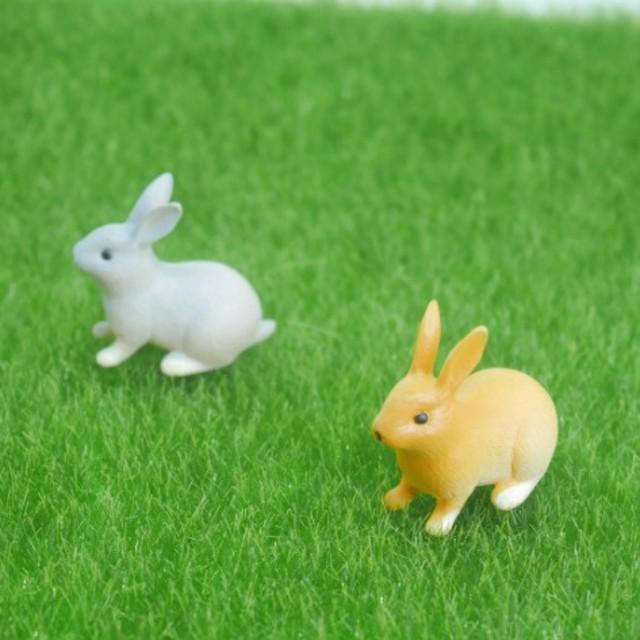 可愛い❤︎うさぎのミニチュア 選べる2個セット 多肉植物 テラリウム ハンドメイドのフラワー/ガーデン(その他)の商品写真